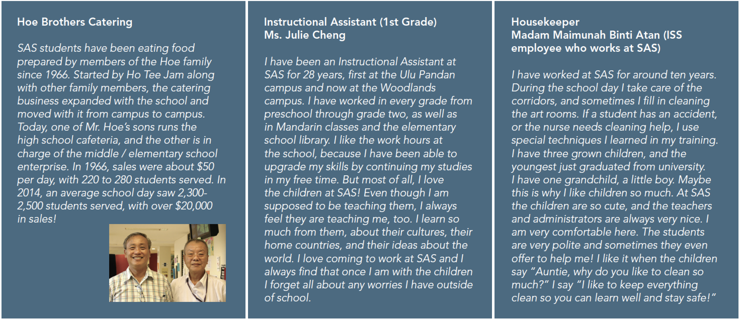 testimonial statements about staff